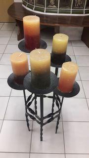 5 Kerzen mit Kerzenständer Schmiedeeisen