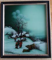 Hinterglasbild aus Kroatien Winter-Motiv