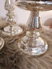 3 Kerzenhalter in Silberglasoptik von