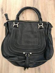 schwarze Echtledertasche Umhängetasche