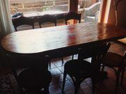 30er Jahre Holztisch mit 6