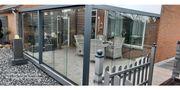 Überdachung Wintergarten Glasschiebetüren