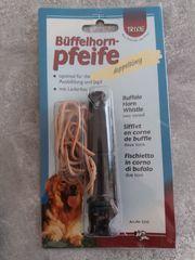 Große Büffelhorn-Pfeife mit Lederband