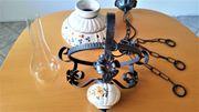 Hängelampe Lampe Schmiedeeisen Keramik