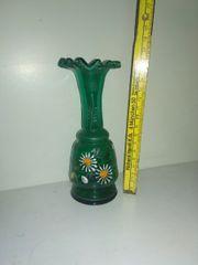 Antike mundgeblasene Vase händisch verziert