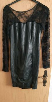 Schwarzes Abendkleid NEU Kunstleder