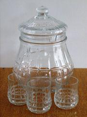 Bowletopf Bowle-Service 3 Gläser Kristallglas