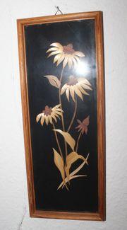 verglastes Holzschnitz-Bild blühende Blumen