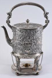 800er Silber Teekanne mit Stövchen
