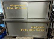 Hängeschrank Edelstahl mit Schiebetür 140x40x55