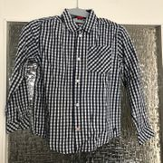 blau-weiß karriertes Langarmhemd langärmliges Hemd