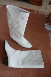 sportlich eleganter weißer Damen-Lederstiefel Gr
