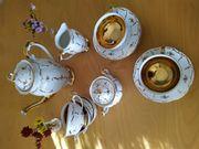 Porzellan Kaffeeservice mit Goldrand