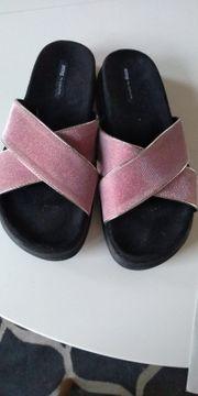 Sommer Schlappen Glitzer rosa