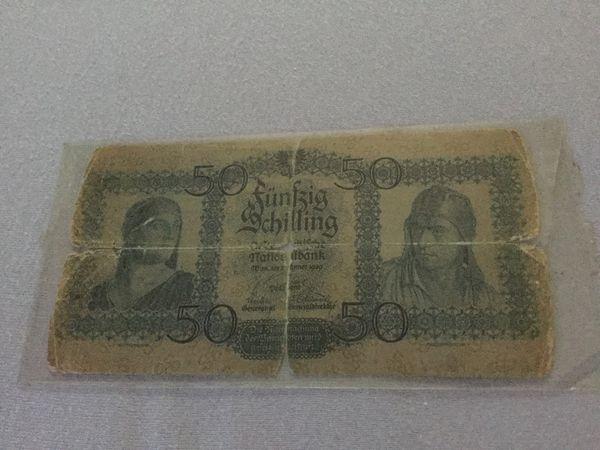 Sehr seltene 50 Schilling Banknote