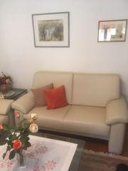 2er und 3er Leder Couch