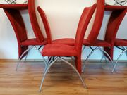 6 rote Stühle Esszimmerstühle