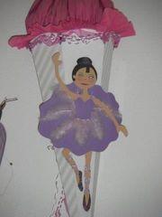 große Schultüte Ballerina weiß-pink-flieder