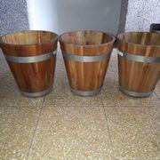 Blümenöpfe Holz mit Metallring