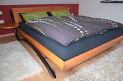 Design Birnbaumholz massiv Doppelschlafbett 180