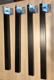 Vier Stück Tischbeine Massivholz dunkelbraun