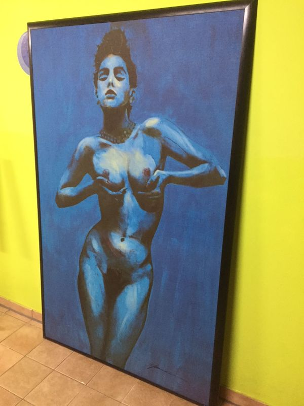 Blaues Bild nackte Frau