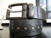 REPLAY Gürtel Leder schwarz Nieten