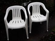 Gartenstühle 2 stapelbar weiß Kunststoff