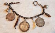 Antik Charivari 3x Silbermünze Trachtenschmuck