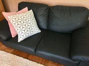 Ledersofa Sofa Couch schwarz
