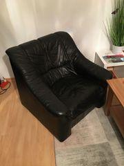 Leder Couchgarnitur schwarz