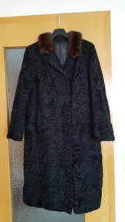 Persianermantel schwarz mit Nerzkragen Gr