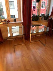 Schreibtisch Glasplatte mit Metallböcken