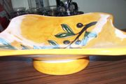 Keramikschale auf Fuß m Olivenzweig