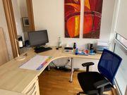 Schreibtisch Ahorn mit Ansatzplatte rechts