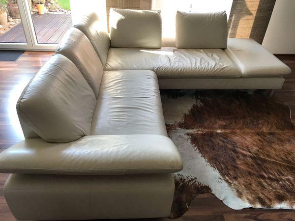 Echtleder Couch Sofa weiß