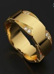 Vergoldeter Ring mit Strasssteine Modeschmuck