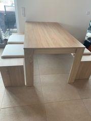 Esstisch mit Bänken Essgruppe Holztisch