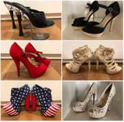 Getragene High Heels Stiefel und