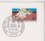 Berlin-Briefmarke mit Sonderstempel vom letzten