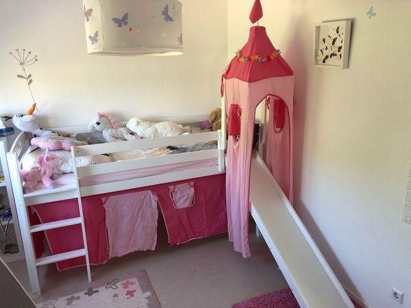 Prinzessinnen Etagenbett : Hochbett prinzessin schloss weiß mit rutsche und lattenrost 80cm