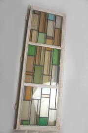 Orig antik Holz-Sprossenfenster Buntglas ca