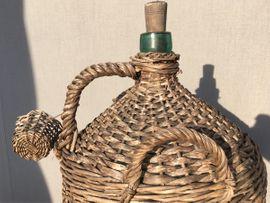 Sonstiges für den Garten, Balkon, Terrasse - Glasballon im Weidenkorb