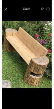 Gartenbank Holz Deko Sitzmöglichkeit Stamm