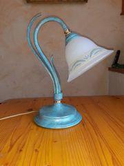 Nachttischlampe weiß bemalt Tischlampe Stehlampe