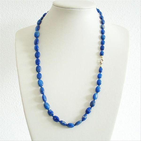Halskette Natur-LapisLazuli 585er Karabiner 1003