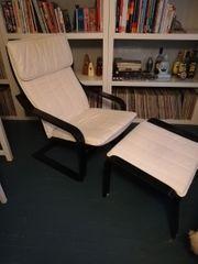 IKEA Schwingstuhl Poäng mit Hocker