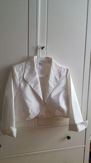 Damen-Bolero-Jacke Größe 42 creme-weiß glänzend