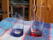 2 Trinkgläser roter und blauer