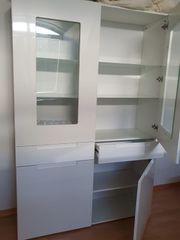 Chice weiße Wohn- Arbeitsmöbel Glasvitrine